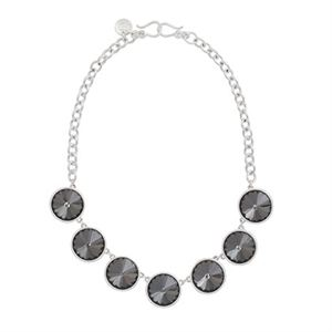 Picture of Mirai Silver Necklace with black Glass Crystals